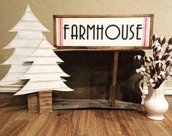 Farmhouse Christmas Sign with Ticking Stripes