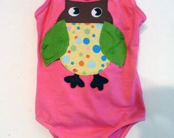 Polka Dot OWL LEOTARD- Owl Leotard - Barnyard Party - Toddler Leotard-