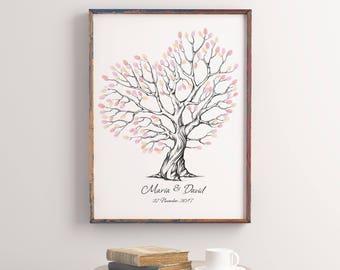 Printable fingerprint tree, Customizable Thumbprint Tree, wedding Guestbook, Christening fingerprint tree, Birthday Tree, Wedding Tree