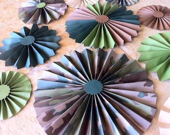"Set of 10 Large 12""/ 9""/ 6"" Paper Rosettes/Fans - Camouflage"
