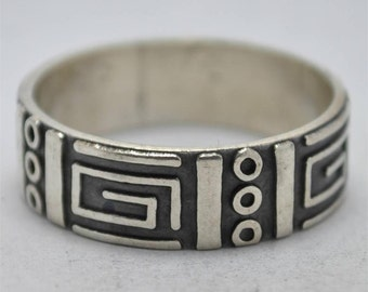 T13D06 Vintage Modern Taxco TV-88 Abstract Geometric Maze 925 Sterling Silver Ring Sz 8.25 Mexico