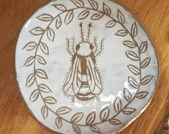 Bee Trinket Dish, Ring Dish, Pottery Dish