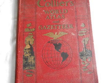 1938 Collier's WORLD ATLAS & Gazeteer U S States City Street Maps Continents Resources Photos Indexes 12 x 14.5 Hc Leather Cover Pre WWII