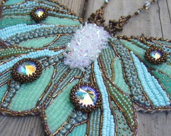 Green Butterfly Necklace - Statement Necklace - Bead Embroidered Necklace - Beadwork Necklace - Statement - Fantasy Jewelry - Luna Moth