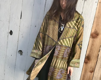 Mid century printed designer silk reversible long jacket