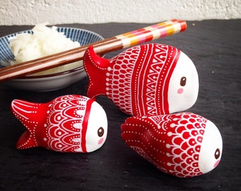 Peekaboo real red & white fish set