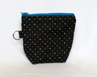 Zip Pouch - Blue and Brown Dots on Black 2