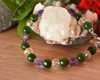 Green Jade Amethyst and Citrine Bracelet Bali Silver Toggle Attracts Prosperity and Abundance Jewelry