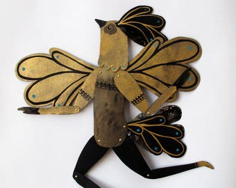 Golden Bird Man / Paper Doll Articulated / Hinged Beasts Series