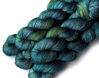 Hand Dyed Yarn Cashmere Silk Lace Yarn, 433 yards, Enchanted