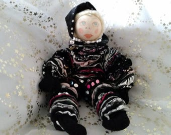 """Marionette """"bun with bells silver and black Christmas rose"""" precious fabric handmade"""