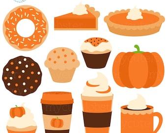 Pumpkin Treats Clipart Set - pumpkin spice, pie, cupcake, pumpkin, fall, halloween - personal use, small commercial use, instant download