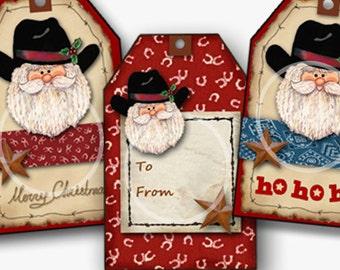 Christmas Western Santa Digital Gift Tags, Set of 6, holiday gift tags, craft supplies, Country Christmas Printable, Santa Hat, Ho Ho, From