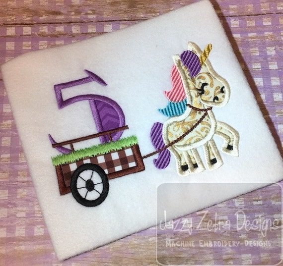Unicorn with number 5 in cart appliqué embroidery design - Unicorn applique design - 5th birthday applique design - fifth birthday applique