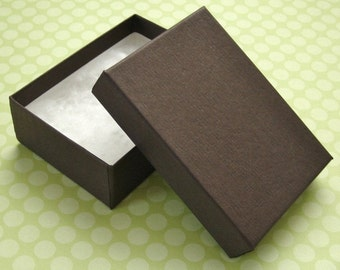 10 Matte Chocolate Brown Jewelry Boxes Cotton Filled 100% Recycled High Quality 3 1/8 x 2 1/4 x 1 inch - Medium