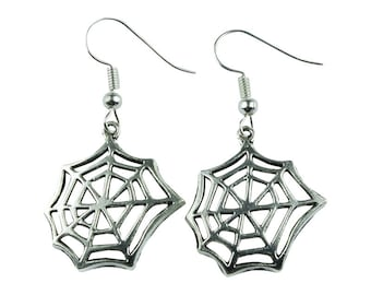 TFB - SILVER COBWEB Dangle Earrings - Complete with gift box