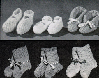Set of 14 Vintage Baby Bootie Knitting Patterns PDF / 14 Baby bootie and stocking patterns / Baby bootie patterns / digital patterns