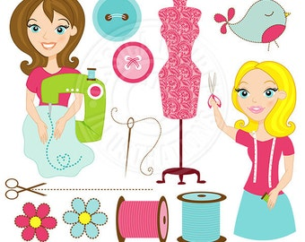 Seamstress Cute Digital Clipart, Sewing Clipart, Sewing Graphics, Woman Sewing Clip Art, Sewing Digital Download, Seamstress Graphics, Sew