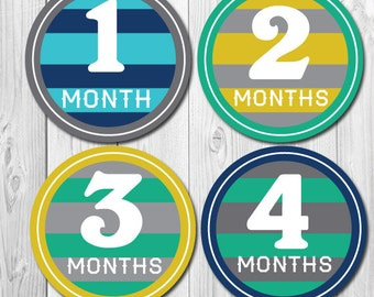 Boy Stripes Monthly Stickers, Baby Boy Month Stickers, Baby Shower Gift, Months 1-12, Stickers for Baby Boy Photo Op, Bodysuit,