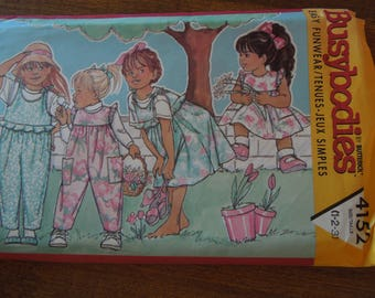 Busybodies 4152, Butterick, UNCUT sewing pattern, children's jumper and jumpsuit