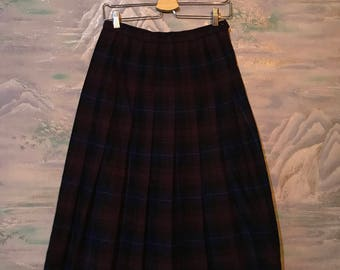 Vintage Tartan Skirt 80s Women Wrap Skirt Wool Kilt Purple Dark Blue Pleated Skirt Size Medium Skirt