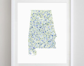 Alabama State Floral Watercolor Art Print - Any State Available