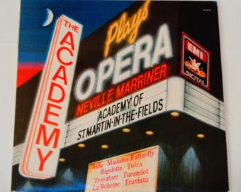 The Academy Plays Opera - Neville Marriner - Aida - Madame Butterfly - Tosca - Turandot - EMI Digital 1987 - Vintage Opera Vinyl LP Record