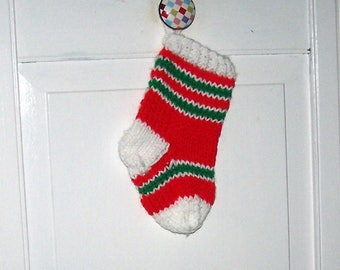 Miniature Christmas stocking hand knit ornament