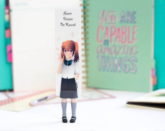 Anime schoolgirl bookmark. Unusual gift for book lover, her, mom, women, teen girl, coworker, child, sister.