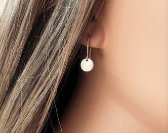 Tiny Silver Disc Earrings, Silver Dangle Earrings, Tiny Silver Drop Earrings, Tiny Dangles, Silver Drop Earrings, Silver French Wires