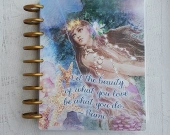 Mermaid Planner Cover - Mermaid Planner Accessories - Discbound Cover - Disc Bound Planner - Rumi Quote - Mermaid Rumi - Mermaid Art