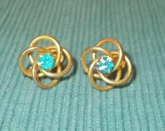 Vintage RETRO Brass Swirl Design with Aqua Blue Rhinestone Screw Back Earrings-Marked B.N.-FREE SHIPPING!