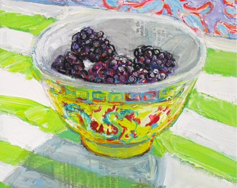Blackberries in a Dragon Bowl original acrylic still life painting by Polly Jones