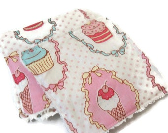 """Square """"Cupcakes"""" cotton and soft white Terry cloth"""