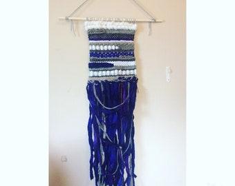 Woven Wall Hanging: Purple, White & Grey