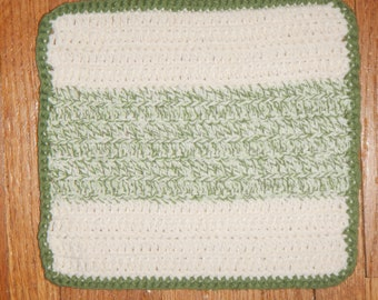 """CLEARANCE - Eco Friendly 100% Cotton hand-crocheted 8"""" x 8"""" washcloths/dishcloths - Sage Green & Off White"""