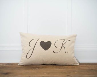 Personalized Mongram and Heart Pillow Cover