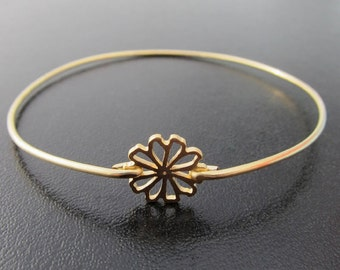 Tiny Flower Bangle Bracelet - Gold, Flower Bracelet, Flower Jewelry, Flower Charm Bangle Bracelet