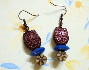 Copper, Blue and Ivory Owl Earrings (3880)
