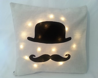 Cushion cover or complete pillow, linen or linen white and cotton printed with applied customizable cotton