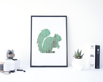 Squirrel Print, Squirrel Art, Animal Prints for Nursery, Animal Nursery Art, Animal Silhouette, Squirrel Lover Gifts, Animal Print Digital