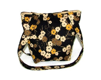 Floral Purse, Small Tote Bag, Fabric Bag, Handmade Handbag, Teen Purse, Black Cloth Purse, Shoulder Bag