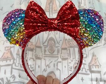 Rainbow jewel hidden mickey Minnie Mouse inspired ears