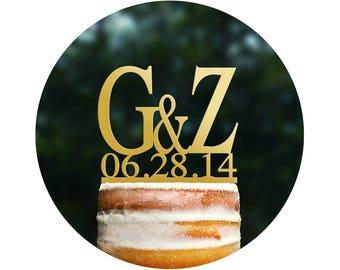 Initial Wedding Cake Topper Custom Cake Topper Monogram Cake Topper Acrylic Cake Topper Bridal Shower Gift Anniversary Gift Wedding (T051)
