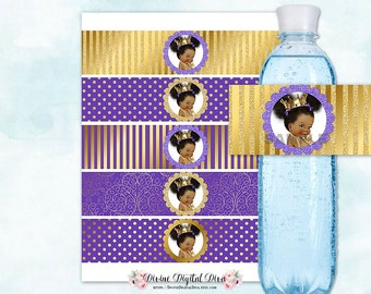 Water Bottle Labels | Royal Purple & Gold | African American Princess Afro Puffs Ruffle Pants Crown | Digital Instant Download