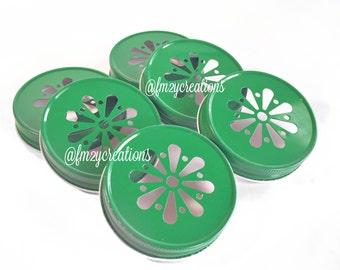 Green Color Daisy Lids--(6) Wedding Daisy Lids, Daisy Cut Green Mason Jar Lids, Mason Jar Lids