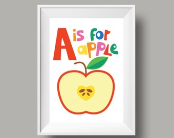 """Colourful Retro Nursery Giclee Print - Slogan 'A is for apple' - A4 or 8x10"""" size  - Alphabet Letters Cartoon Poster for Kids Room"""
