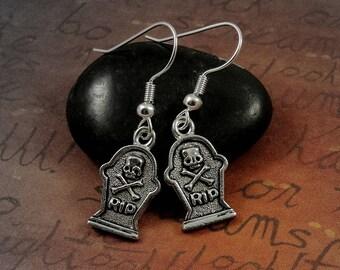 Tombstone Earrings, Silver Plated Gravestone Dangle Drop Earrings on French Earwires
