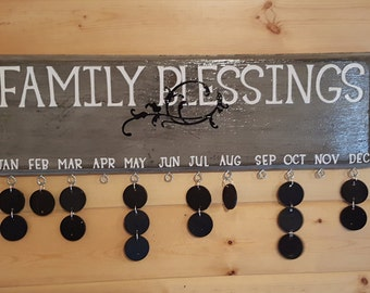 """Rustic Gray """"Family Blessings"""""""