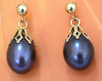 Black Pearl Earring, 14KT Yellow Gold Black Pearl Post Earring W. Filigree Top, E5541,  Made in Hawaii